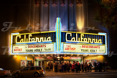 The California Theatre, Berkeley, CA.  Opened in 1920 as the T & D Theatre, a large chain of the day.  From the look of the California's neon sign, it looks as though the name was changed probably in the 1940's.