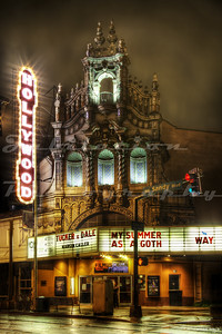 The Hollywood Theatre in Portland, OR, opened as a vaudeville theater on July 17, 1926.  Although it was allowed for years to fall into decline and disrepair, it has since been restored.  After this photo was taken in 2012, a replica of the original marquee replaced the one seen here.  Time to re-shoot...