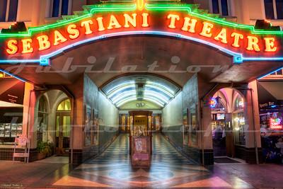 The Sebastiani Theatre, Sonoma, CA.  Opened by the wine making Sebastiani family in 1933.