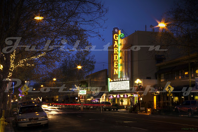 The former Garden Theatre, San Jose, CA.  Opened in 1949, and gutted and turned into retail space in 1989.  Only the exterior was left in tact.  It still lights up every night.