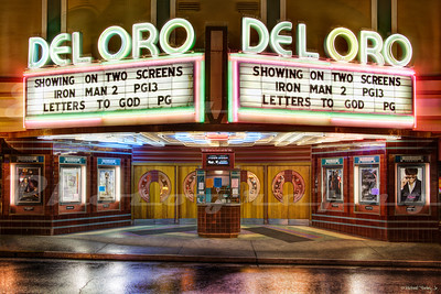 My personal favorite theater anywhere.  The Del Oro Theatre, Grass Valley, CA.  Opened in 1942 and put out of business the nearby Montez Theater.  I saw many movies here as a child and as a teen.