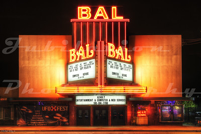 The Bal Theatre, San Leandro, CA.  Opened in 1946.  Much of the neon has been removed.