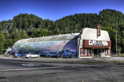 The Rio Theater, Monte Rio, CA.  Opened in 1950.  It's essentially a surplus World War 2 quonset hut with a streamline modern facade slapped in the front.  Currently for sale by the owner.