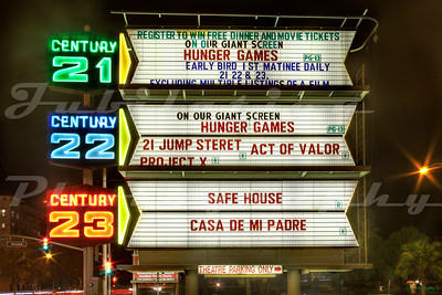 The signage for the Century Theatres next to the Winchester House.