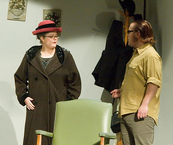 Kristina Lentz as Mrs. Boyle and Johnny Lammersfield as Giles Ralston.