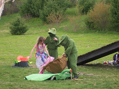 Thumbelina kidnapped by two toads and brought to a lili pad.  Photo by Heather Holme