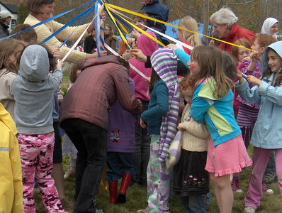 Dancing around the May pole is one of the most special events at the South Shore Waldorf  School Mayfair.  As the children dance around the Maypole they weave their dreams