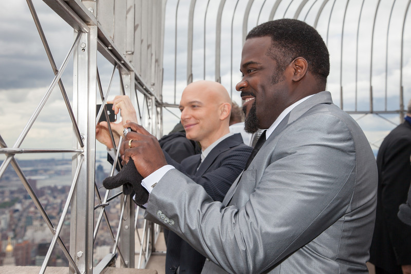 Phillip Boykin and Michael Cerveris admiring the view from the 86th floor of the Empire State Building.