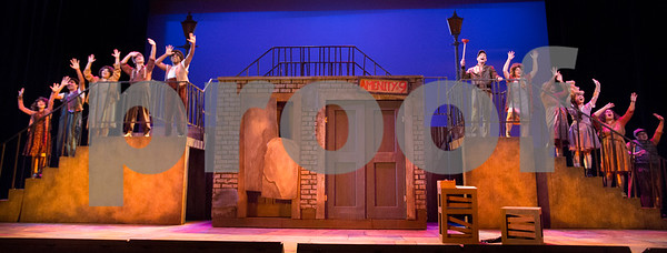 """3/8/16:  Photograph taken during rehearsal for the Cypress College production of """"Urinetown"""". Photo  jim.mccormack@mac.com"""
