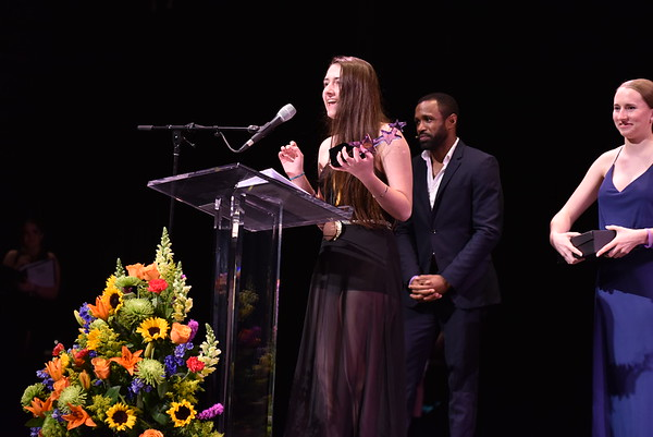 Monika Wisner accepts the award for Best Musical on behalf of the company of Jekyll and Hyde. Photo Credit Mort Shuman