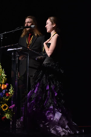 Leigh DiMisa and Shaun Arnold accept the award for Orchestra. Photo Credit Mort Shuman
