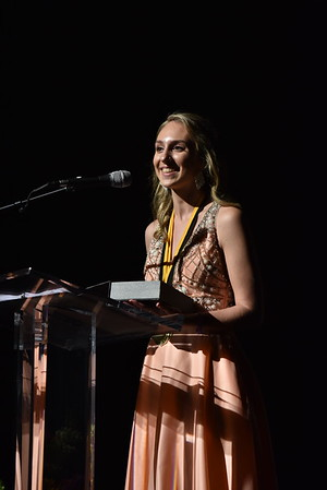Sarah Neubecker accepts the award for Stage Management & Crew. Photo Credit Mort Shuman