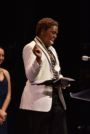 Gamauri Spencer accepts the award for Featured Actor in a Musical. Photo Credit Mort Shuman
