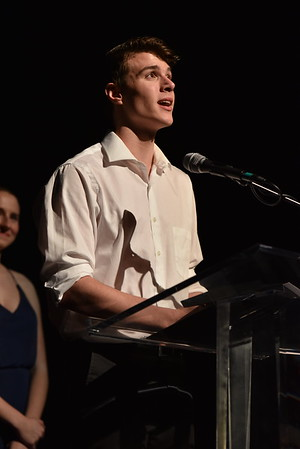 Jack Merson, still in costume from his performance, accepts the award for Lead Actor in a Musical. Photo Credit Mort Shuman