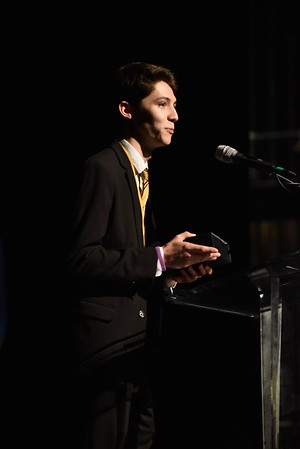 Tim Edwards accepts the award for Comic Actor in a Musical. Photo Credit Mort Shuman