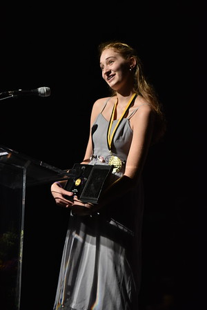 Naomi Ray accepts the award for Featured Actress in a Play. Photo Credit Mort Shuman