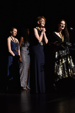 Kristy Brown and Ashley Ingle accept the award for Hair and Makeup. Photo Credit: Mort Shuman
