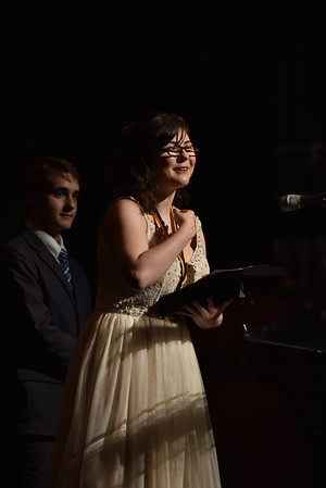 Emily McGee accepts the award for Comic Actress in a Musical. Photo Credit Mort Shuman
