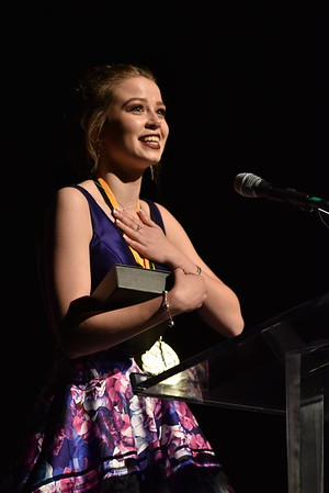 Grace Lawell accepts the award for Lead Actress in a Musical. Photo Credit Mort Shuman