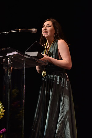 Allison Vallario accepts the award for Supporting Actress in a Musical. Photo Credit Mort Shuman