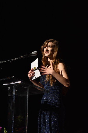 Mary Fitzell accepts the award for Female Dancer. Photo Credit Mort Shuman