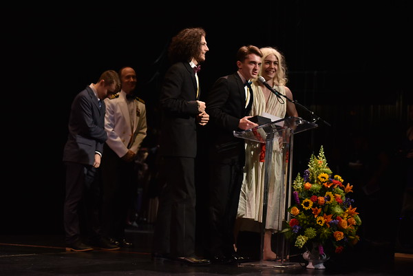 Students from South River HS accept the award for Ensemble in a play
