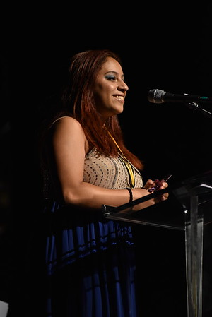 Keishla De Leon accepts the award for Featured Actress in a Musical. Photo Credit Mort Shuman