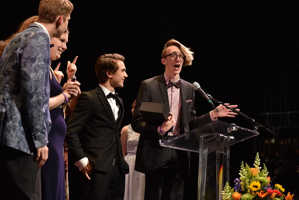 Ryan Hoover accepts the award for Best Play on behalf of the company of Shakespeare in Hollywood. Photo Credit Mort Shuman
