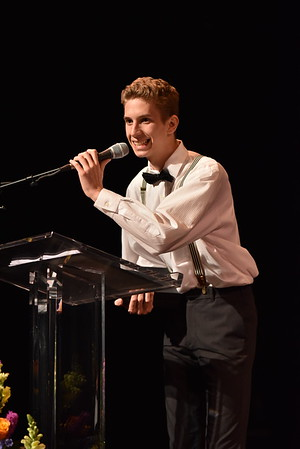 Hunter Kane accepts the award for Featured Actor in a Play. Photo Credit Mort Shuman