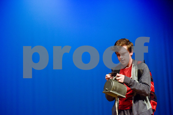 Fritz Hager as Christopher during a dress rehearsal of The Curious Incident of the Dog in the Night-Time at Robert E. Lee High School in Tyler, Texas, on Tuesday, March 27, 2018. The students are competing in the area-level of UIL this Saturday. (Chelsea Purgahn/Tyler Morning Telegraph)