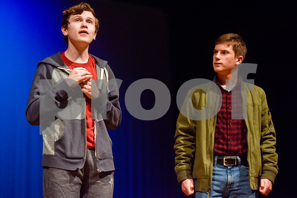 Fritz Hager, left, as Christopher and Ben Watters, right, as Ed during a dress rehearsal of The Curious Incident of the Dog in the Night-Time at Robert E. Lee High School in Tyler, Texas, on Tuesday, March 27, 2018. The students are competing in the area-level of UIL this Saturday. (Chelsea Purgahn/Tyler Morning Telegraph)