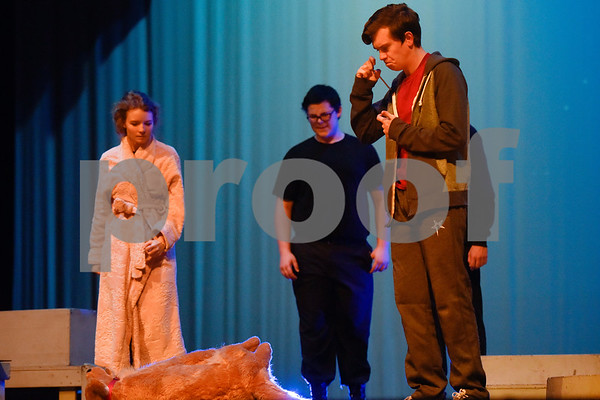 Fritz Hager, right, as Christopher during a dress rehearsal of The Curious Incident of the Dog in the Night-Time at Robert E. Lee High School in Tyler, Texas, on Tuesday, March 27, 2018. The students are competing in the area-level of UIL this Saturday. (Chelsea Purgahn/Tyler Morning Telegraph)
