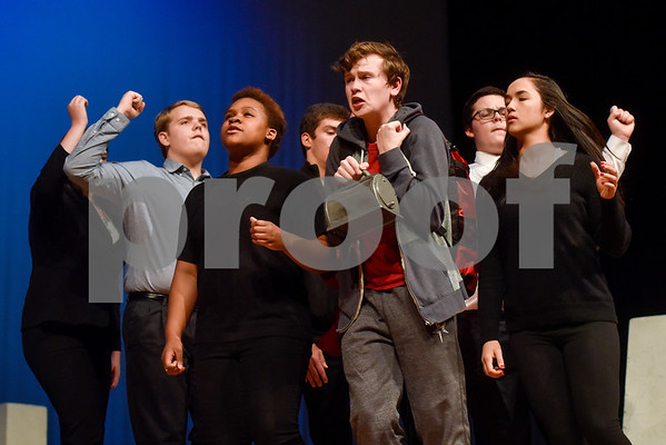 Members of the cast during a dress rehearsal of The Curious Incident of the Dog in the Night-Time at Robert E. Lee High School in Tyler, Texas, on Tuesday, March 27, 2018. The students are competing in the area-level of UIL this Saturday. (Chelsea Purgahn/Tyler Morning Telegraph)