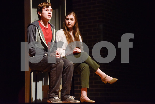 Fritz Hager, left, as Christopher and Cameron Hamlin, right, as Siobhan during a dress rehearsal of The Curious Incident of the Dog in the Night-Time at Robert E. Lee High School in Tyler, Texas, on Tuesday, March 27, 2018. The students are competing in the area-level of UIL this Saturday. (Chelsea Purgahn/Tyler Morning Telegraph)