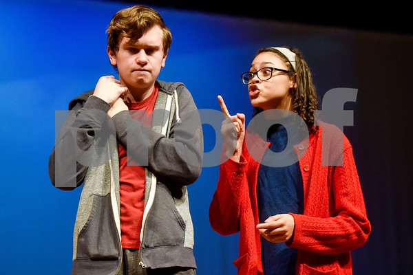 Fritz Hager, left, as Christopher and Olivia Orren, right, as Mrs. Gascoyne during a dress rehearsal of The Curious Incident of the Dog in the Night-Time at Robert E. Lee High School in Tyler, Texas, on Tuesday, March 27, 2018. The students are competing in the area-level of UIL this Saturday. (Chelsea Purgahn/Tyler Morning Telegraph)