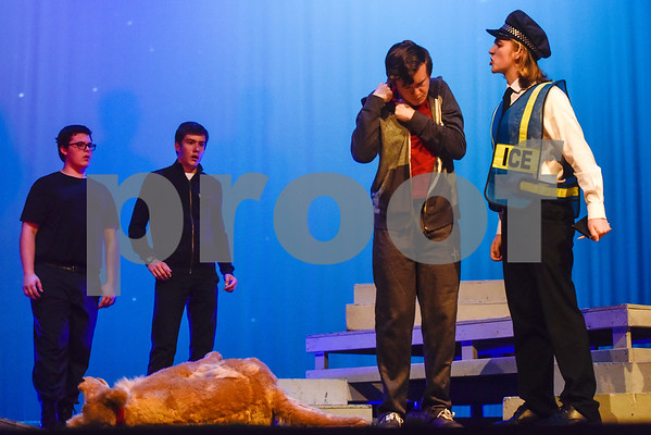 Fritz Hager, second from right, as Christopher during a dress rehearsal of The Curious Incident of the Dog in the Night-Time at Robert E. Lee High School in Tyler, Texas, on Tuesday, March 27, 2018. The students are competing in the area-level of UIL this Saturday. (Chelsea Purgahn/Tyler Morning Telegraph)