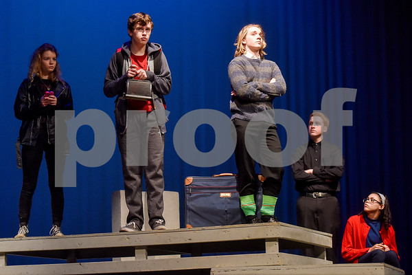 Fritz Hager, second from left, as Christopher during a dress rehearsal of The Curious Incident of the Dog in the Night-Time at Robert E. Lee High School in Tyler, Texas, on Tuesday, March 27, 2018. The students are competing in the area-level of UIL this Saturday. (Chelsea Purgahn/Tyler Morning Telegraph)