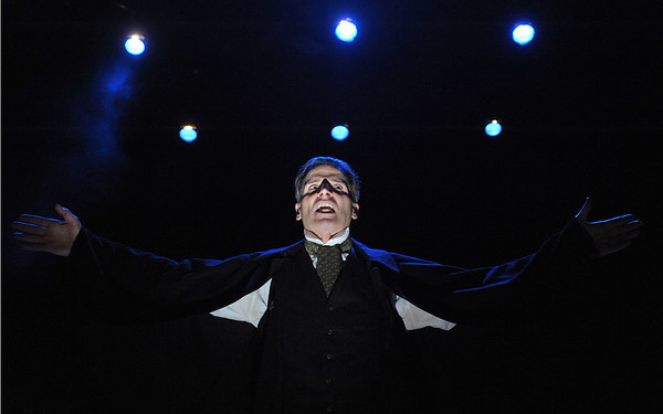 Using only the words from Charles Dickens' novella, Paul Morella returns to bring this chilling and classic story of A CHRISTMAS CAROL: A GHOST STORY OF CHRISTMAS to life at Olney Theatre Center.  (Photo by Stan Barouh).