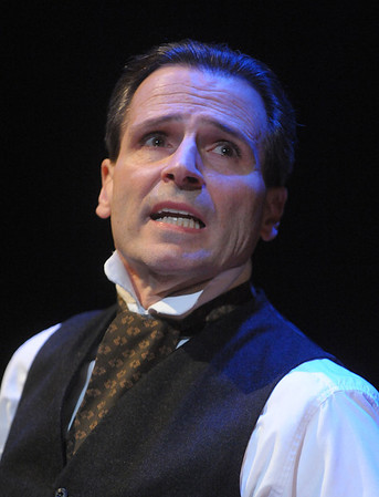Paul Morella transports you back to Victorian England and into the heart of this classic morality tale, A CHRISTMAS CAROL: A GHOST STORY OF CHRISTMAS at Olney Theatre Center.  (Photo by Stan Barouh)
