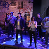 "The cast singing ""Boulevard of Broken Dreams,"" in New Line Theatre's AMERICAN IDIOT. Photo credit: Jill Ritter Lindberg."