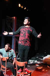 "Omega Jones and Gabe Taylor, singing ""Holiday,"" in New Line Theatre's AMERICAN IDIOT. Photo credit: Jill Ritter Lindberg."
