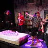 "The cast singing ""I Don't Care,""  in New Line Theatre's AMERICAN IDIOT. Left to right, Kevin Corpuz, Clayton Humburg, Jeremy Hyatt, Brendan Ochs, Evan Fornachon. Photo credit: Jill Ritter Lindberg."