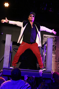 "Chris Kernan as St. Jimmy, singing ""St. Jimmy"" in New Line Theatre's AMERICAN IDIOT. Photo credit: Jill Ritter Lindberg."