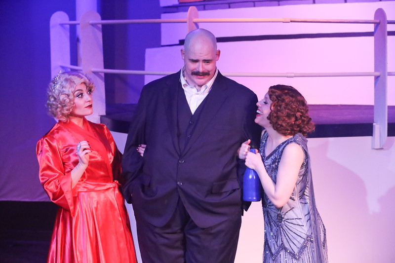 Sarah Porter as Reno, Zachary Allen Farmer as Sir Evelyn Oakleigh, and Eileen Engel as Hope Harcourt, in ANYTHING GOES, New Line Theatre, 2018. Photo credit: Jill Ritter Lindberg.