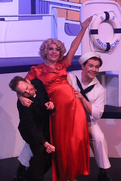"Aaron Allen as Mooney, Sarah Porter as Reno, and Evan Fornachon as Billy, singing ""Friendship"" in ANYTHING GOES, New Line Theatre, 2018. Photo credit: Jill Ritter Lindberg."