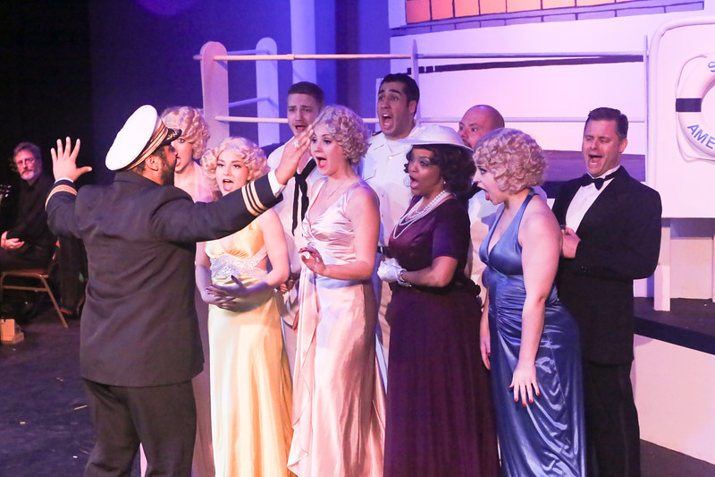 "The company sings ""Public Enemy Number One"" in ANYTHING GOES, New Line Theatre, 2018. Photo credit: Jill Ritter Lindberg."