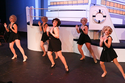 """Sarah Gene Dowling as Bonnie (center), with Reno's Angels -- Michelle Sauer, Larissa White, Sara Rae Womack, and Alyssa Wolf  -- singing """"Heaven Hop"""" in ANYTHING GOES, New Line Theatre, 2018. Photo credit: Jill Ritter Lindberg."""