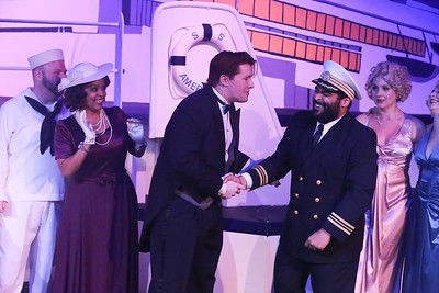 (l-r) Jason Blackburn (sailor), Kimmie Kidd-Booker (Mrs. Harcourt), Evan Fornachon (Billy), Dominick Dowdy-Windsor (Captain), and Michelle Sauer (Purity), in ANYTHING GOES, New Line Theatre, 2018. Photo credit: Jill Ritter Lindberg.