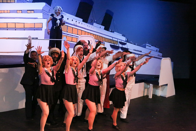 "Sarah Porter as Reno (above) and the company, singing ""Anything Goes,"" in ANYTHING GOES, New Line Theatre, 2018. Photo credit: Jill Ritter Lindberg."