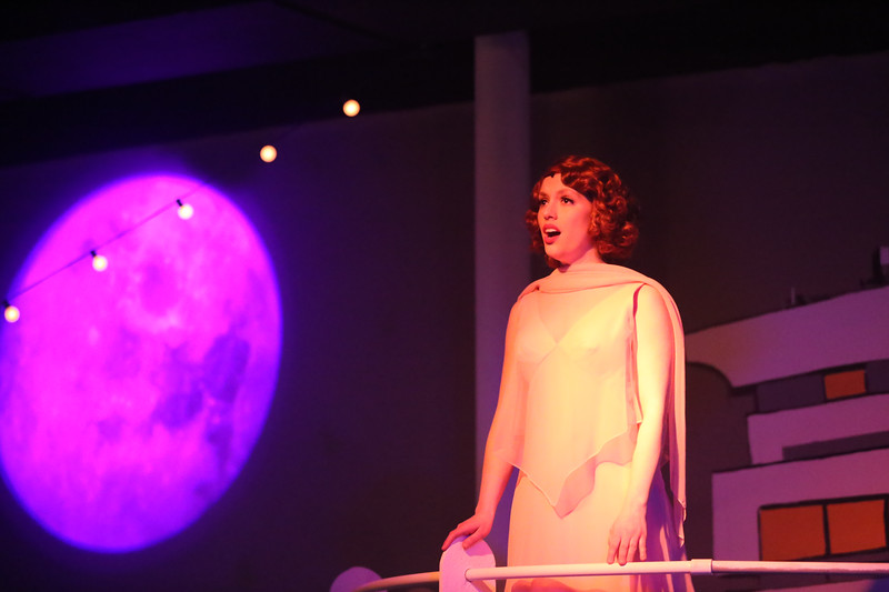 "Eileen Engel as Hope Harcourt, singing ""All Through the Night"" in ANYTHING GOES, New Line Theatre, 2018. Photo credit: Jill Ritter Lindberg."
